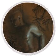 Male Nude 17. East Meets West 1. Round Beach Towel