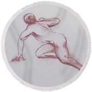 Male Nude 19 Round Beach Towel