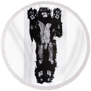 Male Nude Front Round Beach Towel