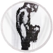Male Nude Side Round Beach Towel