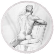 Male Nude With Chair Round Beach Towel