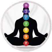 Male Silhouette Chakra Illustration Round Beach Towel