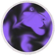 Male Space Face Round Beach Towel