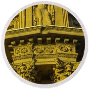 Male Statue Palace Of Fine Arts Round Beach Towel