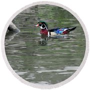 Drake Wood Duck On Pond Round Beach Towel