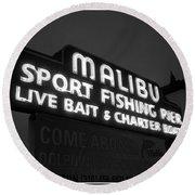 Malibu Pier Sign In Bw Round Beach Towel by Glenn McCarthy Art and Photography