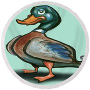 Mallard Duck Round Beach Towel