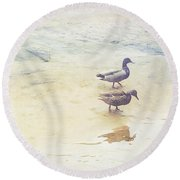 Mallards At The Chattahoochee River Round Beach Towel