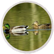 Mallards On The Lake Round Beach Towel