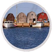 Malpeque Harbour Panorama Round Beach Towel