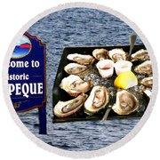 Malpeque Oyster Poster Round Beach Towel