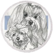 Maltese And Pup Round Beach Towel