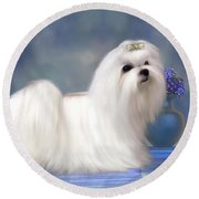 Maltese Dog Round Beach Towel