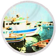 Maltese Harbor Round Beach Towel