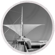 Mam Wings Spread B-w Round Beach Towel