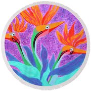 Mama And Her Chicks By Ken Tesoriere Round Beach Towel