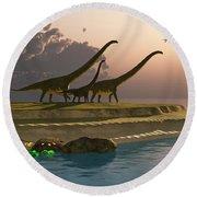 Mamenchisaurus Dinosaur Morning Round Beach Towel