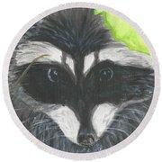 Mamma Raccoon  Round Beach Towel