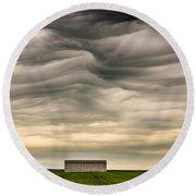 Mammatus Clouds Round Beach Towel