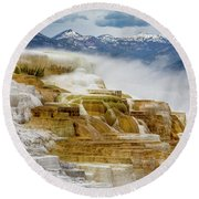 Mammoth Hot Springs In Yellowstone National Park, Wyoming. Round Beach Towel