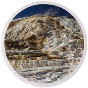 Mammouth Hot Springs Round Beach Towel