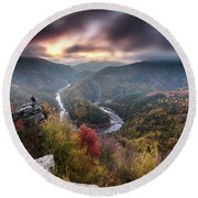 Man Above A River Meander Round Beach Towel