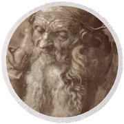 Man Aged 93 Brush Ink On Paper 1521 Round Beach Towel