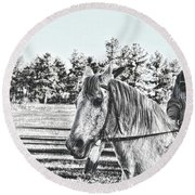 Man And His Horse Round Beach Towel