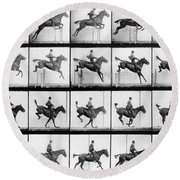 Man And Horse Jumping Round Beach Towel by Eadweard Muybridge