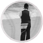 Man And The Sea Round Beach Towel