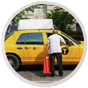 Man Asks For Information A Taxi Driver In Manhattan. Round Beach Towel