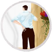 Man At The End Of The Corridor Round Beach Towel