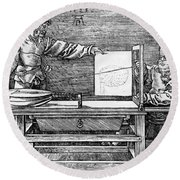 Man Drawing A Lute 1523 Round Beach Towel