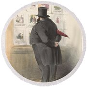 Man For A Showcase With Prints, Anonymous, 1810 - C. 1900 Round Beach Towel