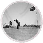 Man Golfing, C.1960s Round Beach Towel