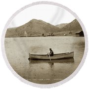 Man In A Row Boat Named Lizzie On Palmer Lake On The Colorado Di Round Beach Towel