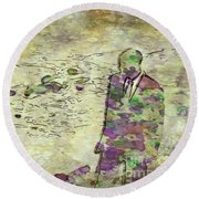 Man In A Suit By Mary Bassett Round Beach Towel