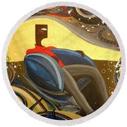 Man In Chair 2 Round Beach Towel