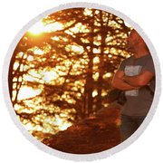 Man In The Forest Round Beach Towel