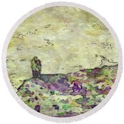 Man In The Lansdscape By Mary Bassett Round Beach Towel