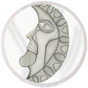 Man In The Moon Round Beach Towel