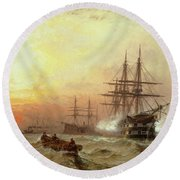 Man-o-war Firing A Salute At Sunset Round Beach Towel by Claude T Stanfield Moore