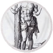 Man Of Sorrows With Hands Raised 1500 Round Beach Towel