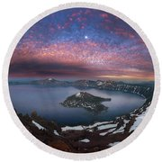Man On Hilltop Viewing Crater Lake With Full Moon Round Beach Towel