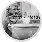 Man Ordering Another Drink, C. 1940s Round Beach Towel