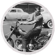 Man Riding A Motorcycle Round Beach Towel