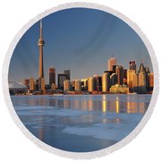 Man Standing On Frozen Lake Ontario Ice Looking At Toronto City  Round Beach Towel
