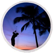Man Swinging Driver Round Beach Towel