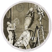 Man Using Sextant On Womans Coiffure Round Beach Towel