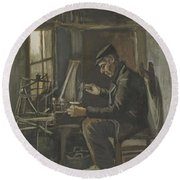 Man Winding Yarn Nuenen, May - June 1884 Vincent Van Gogh 1853  1890 Round Beach Towel